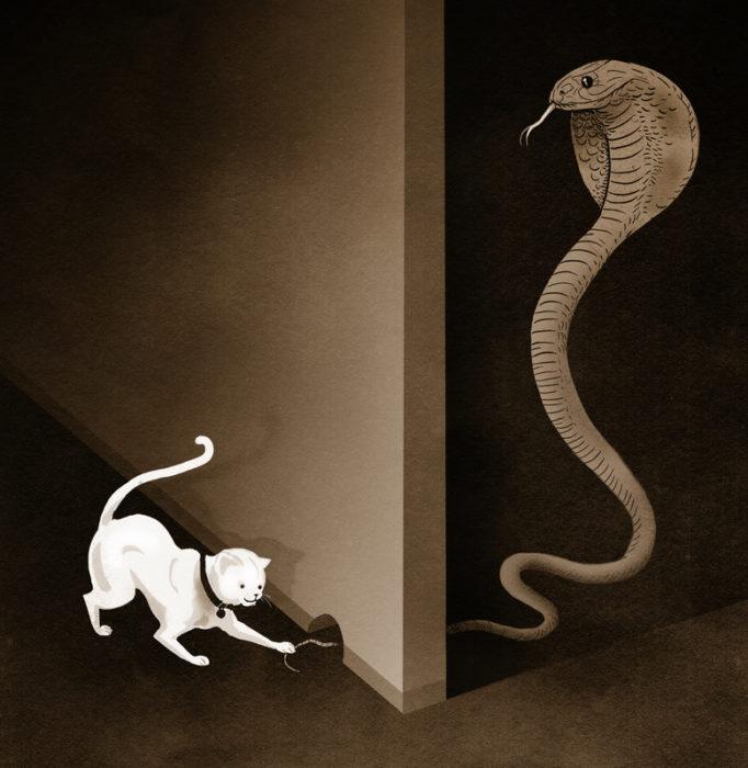 ilustración de un gato molestando a una serpiente