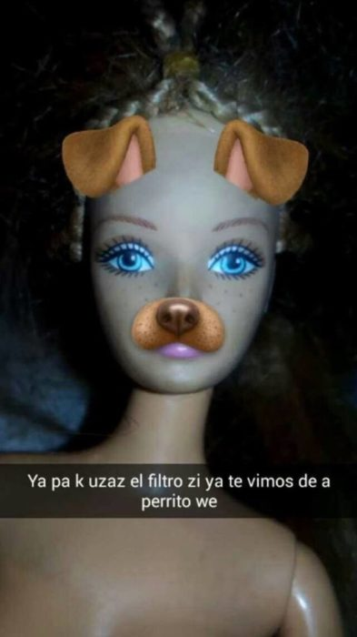 barbie con el filtro de perrito