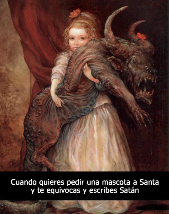 pintura medieval niña con demonio