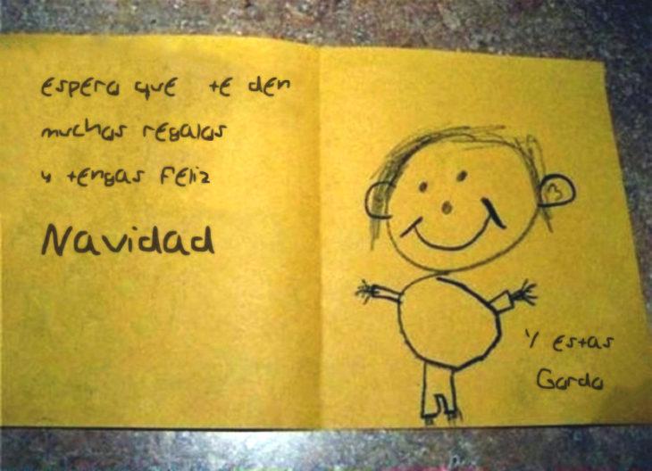 carta de un niño a otro, estás gordo