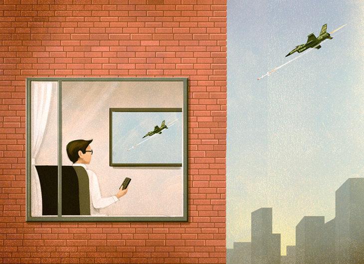 ilustración de un hombre sentado viento un avión en la televisión, el avión real pasa cerca de su casa