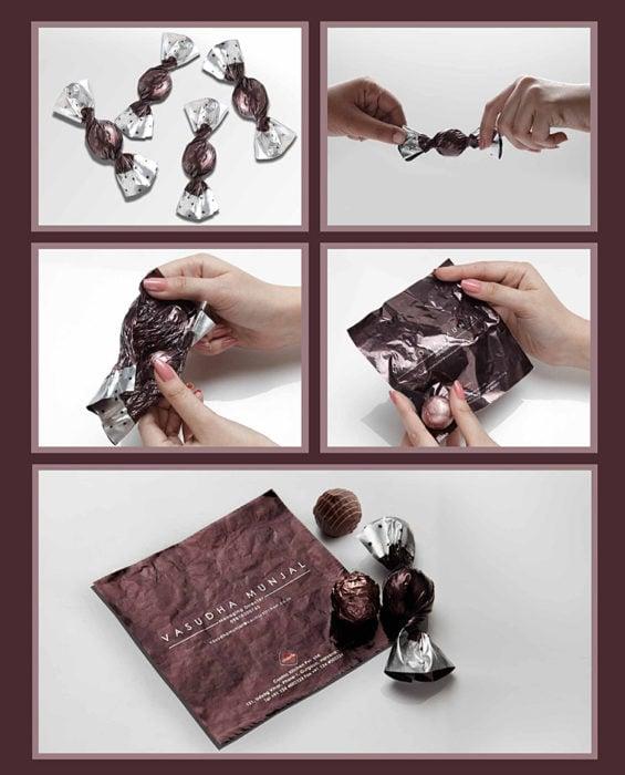 tarjeta de presentación en envoltura de dulce