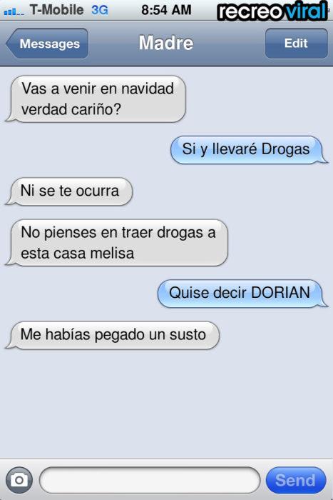 mensaje de texto llevaré drogas