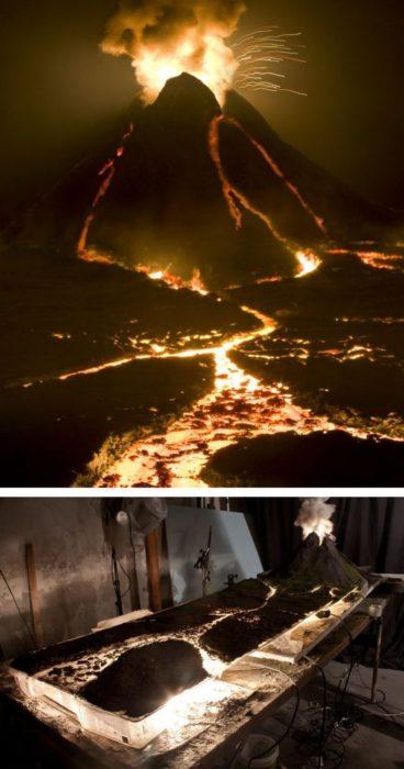 detrás de cámaras, volcán de lava