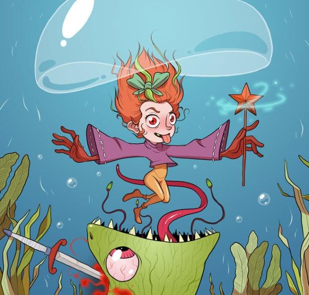 dibujo de una niña bajo el mar