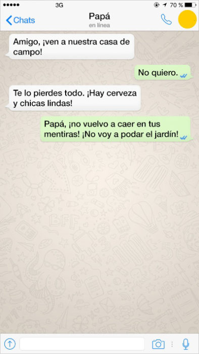 mensjae de texto de papá para que su hijo limpie el jardín
