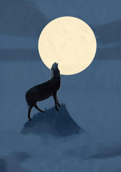 ilustración, oveja aullando a la luna como si fuera un lobo