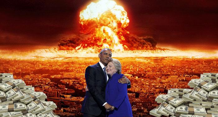 foto editada de obama y hillary explosión