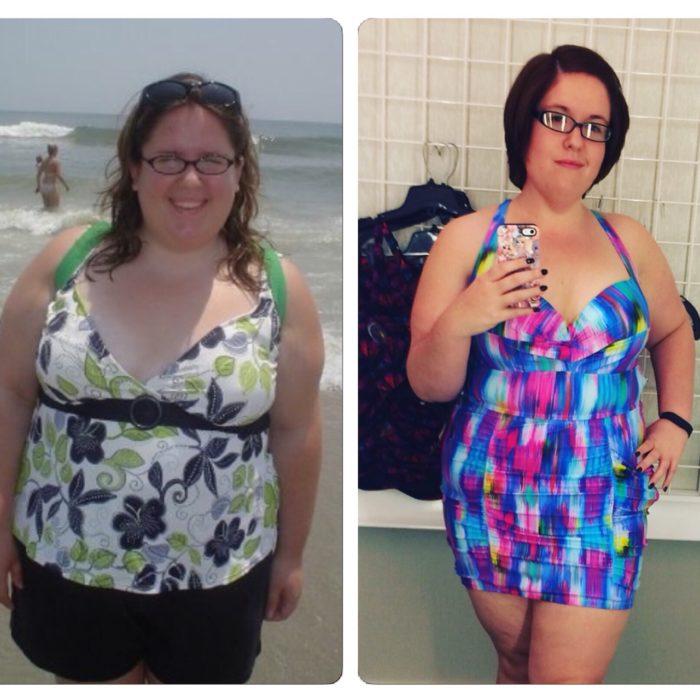 muchacha antes y después de perder peso