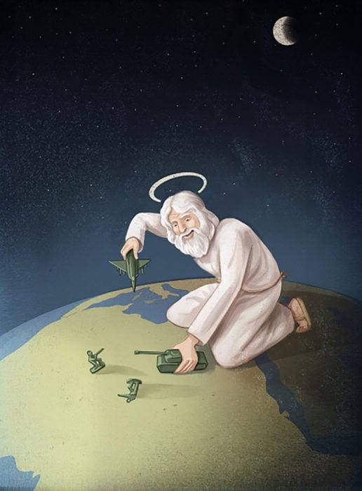 ilustración dios jugando con sodlados
