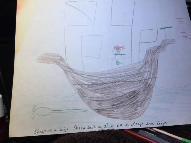 dibujo de un barco hecho por un niño