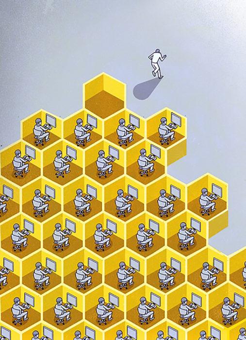 ilustración cubículos en forma de colmenas de abeja