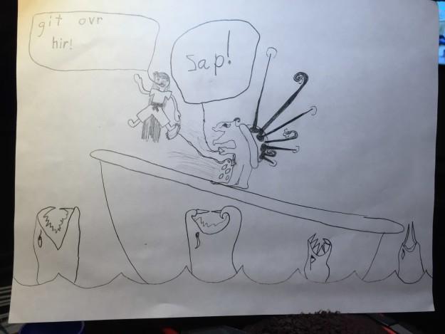dibujo raro de un pequeño niño