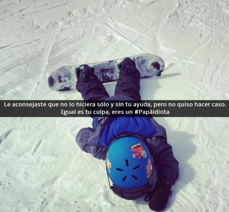 niño llorando tirado en la nieve