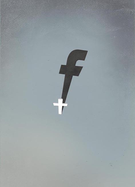 ilustración cruz y facebook
