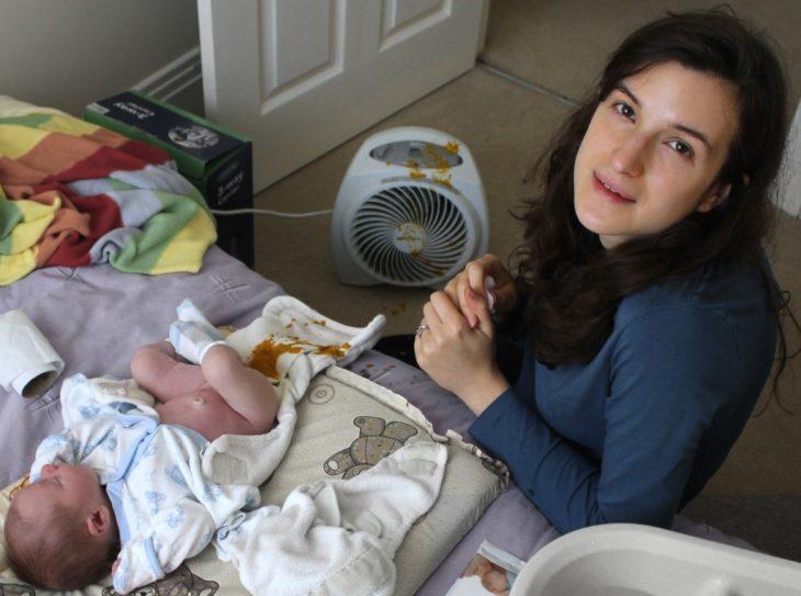 bebé hace popó en ventilador