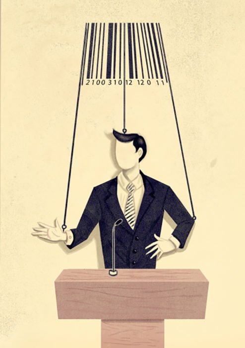 ilustración político títere movido por un código de barras