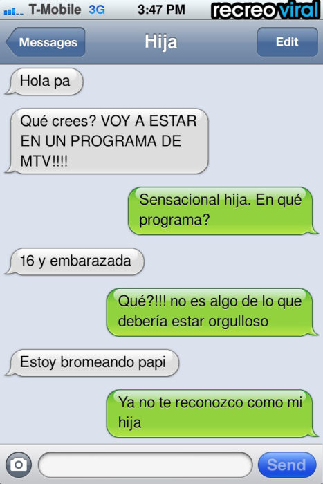mensaje de texto MTV