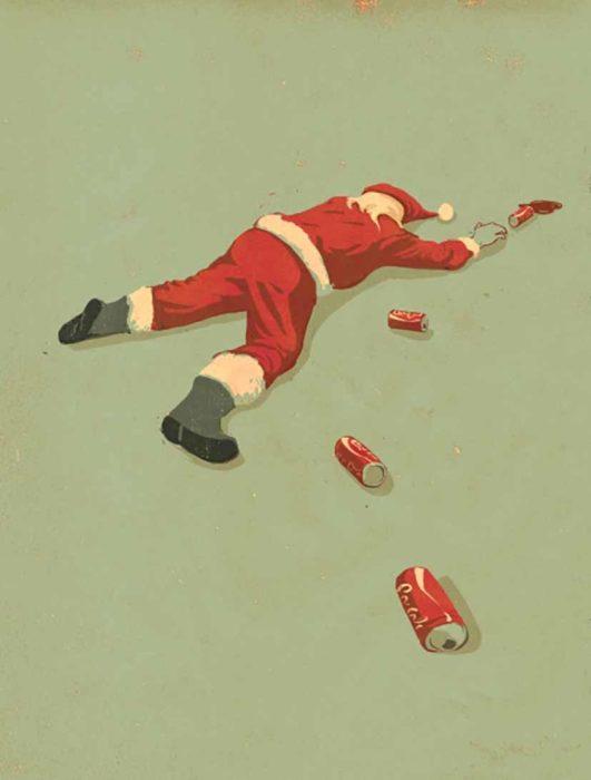 ilustración de santa claus tirado en el suelo con latas de cocacola
