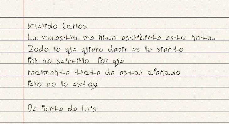 disculpa escrita de un niño