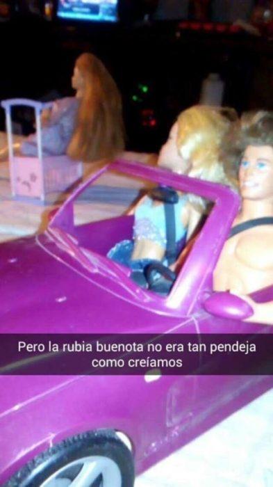 ken y bratz en el carro