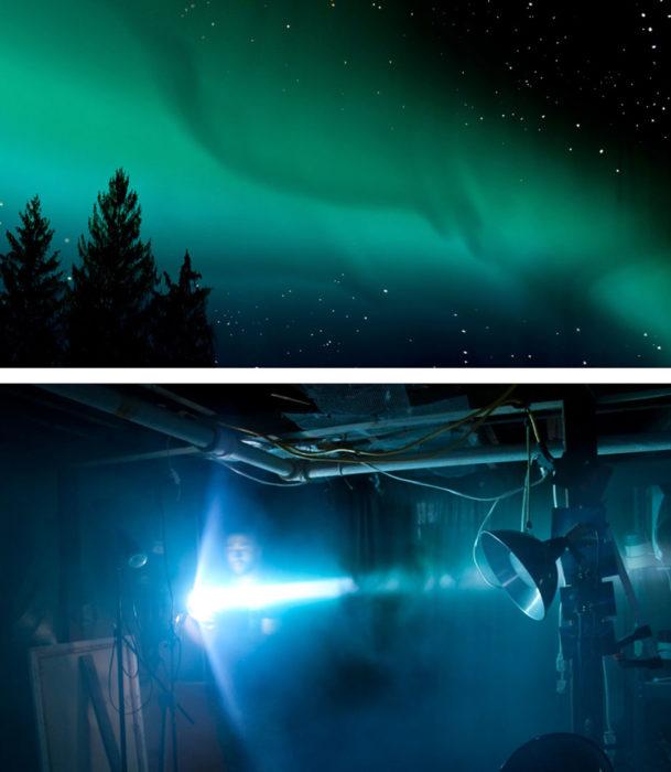 detrás de cámaras aurora boreal