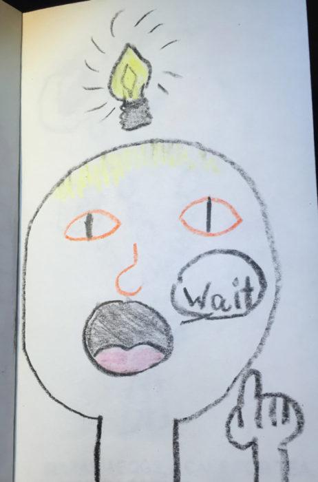 chico con bombilla en la cabeza dibujado por un niño