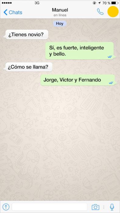 mensaje de texto varios novios