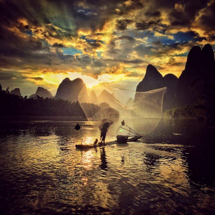 Fotografía de puesta de sol tomada con iphone