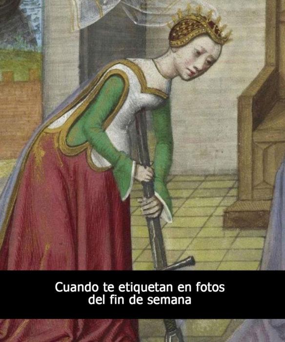 pintura medieval mujer clavándose una espada