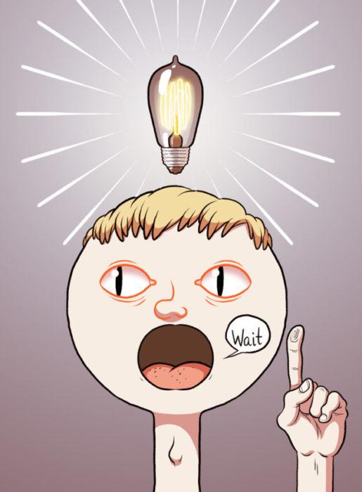 dibujo dijital de un chico con una bombilla sobre la cabeza