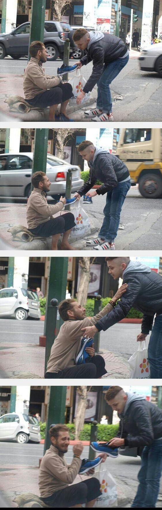 joven regala zapatos a indigente