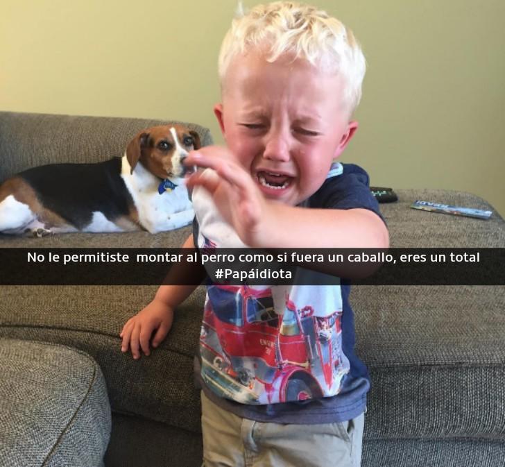 niño llorando al lado de un perro
