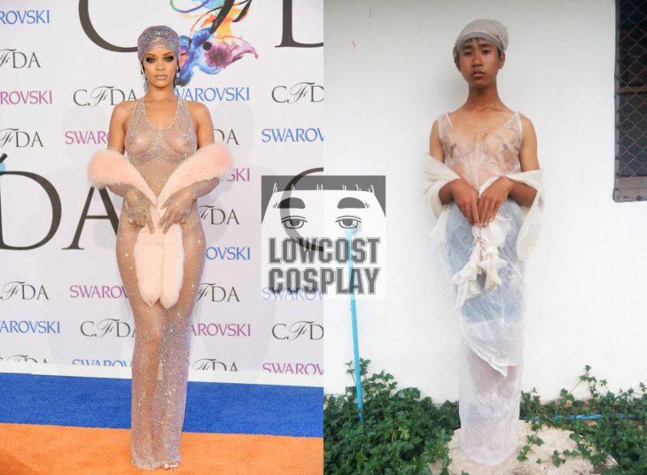 Rihanna vestido trasparente cosplay barato