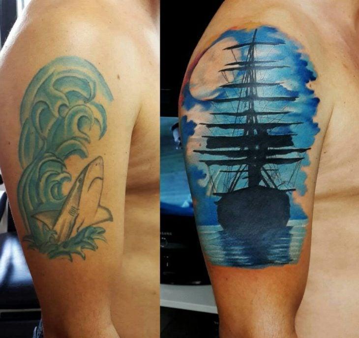 cover up de tatuaje, barco