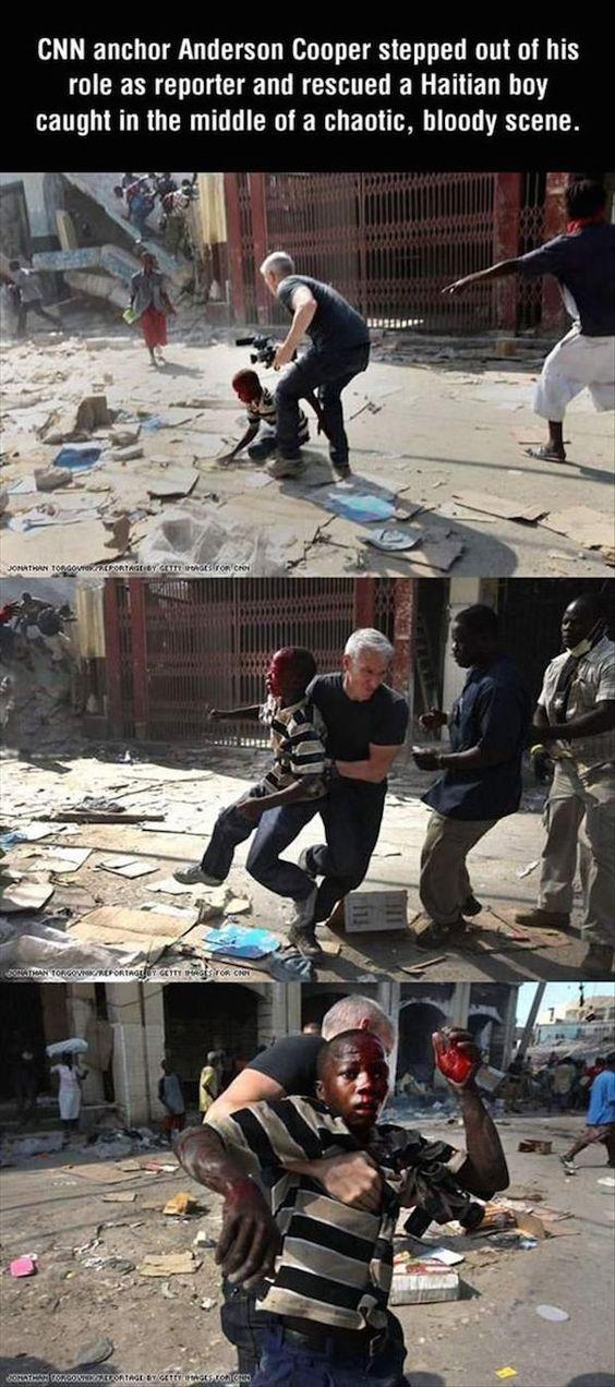 periodista salva a un niño de una escena violenta