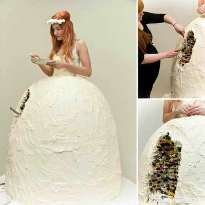 vestido hecho de pastel
