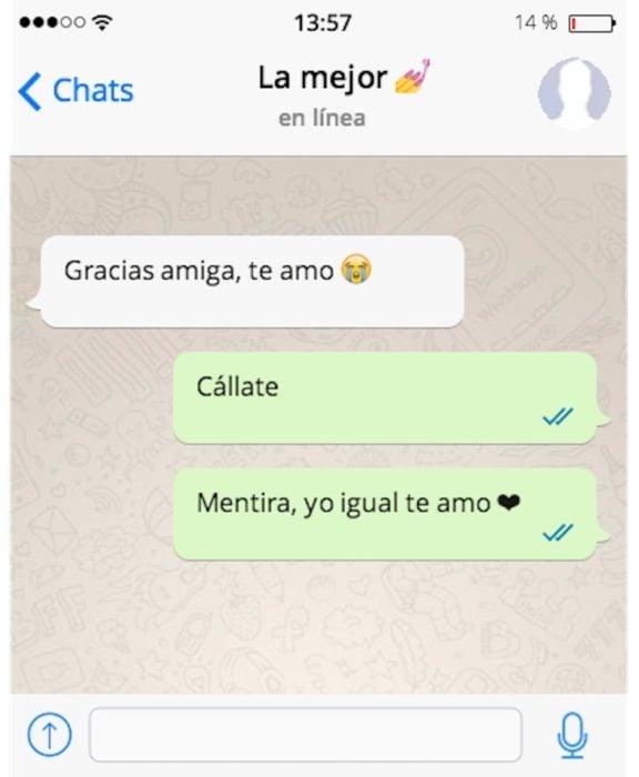mensaje de texto cállate también te amo