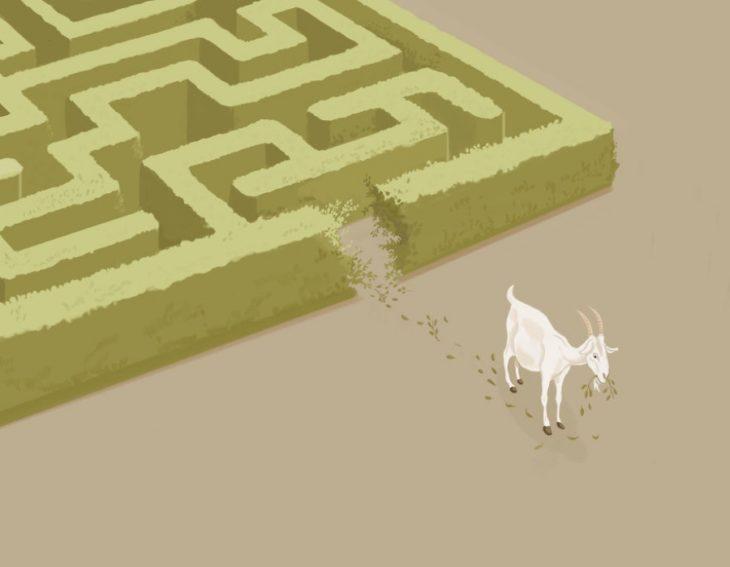 ilustración oveja se come el laberinto de hierva que la tiene atrapada