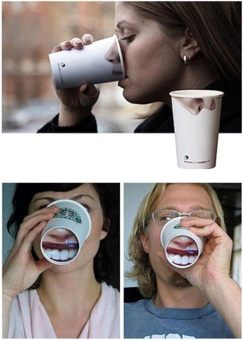 vasos con diseño de narís y boca