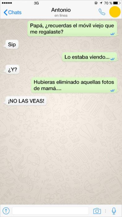 mensjae de texto fotografías de mamá en el celular de papá