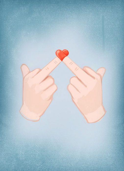 ilustración dedor de enmedio parados forman un corazón