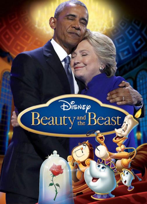obama y hillary la bella y la bestia