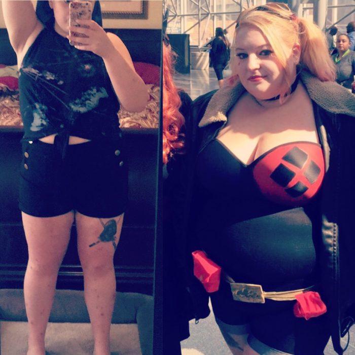 mujer con sobrepeso haciendo cosplay