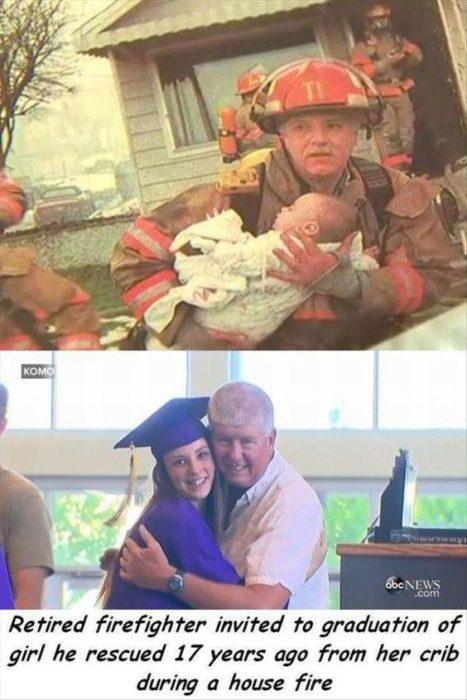 bombero salva a una bebé