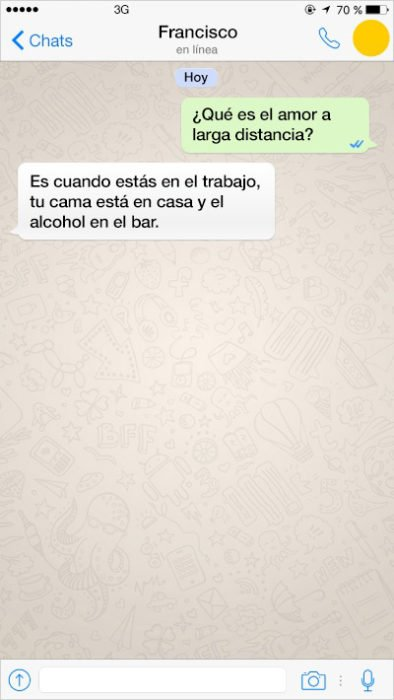mensjae de texto alcohol y trabajo