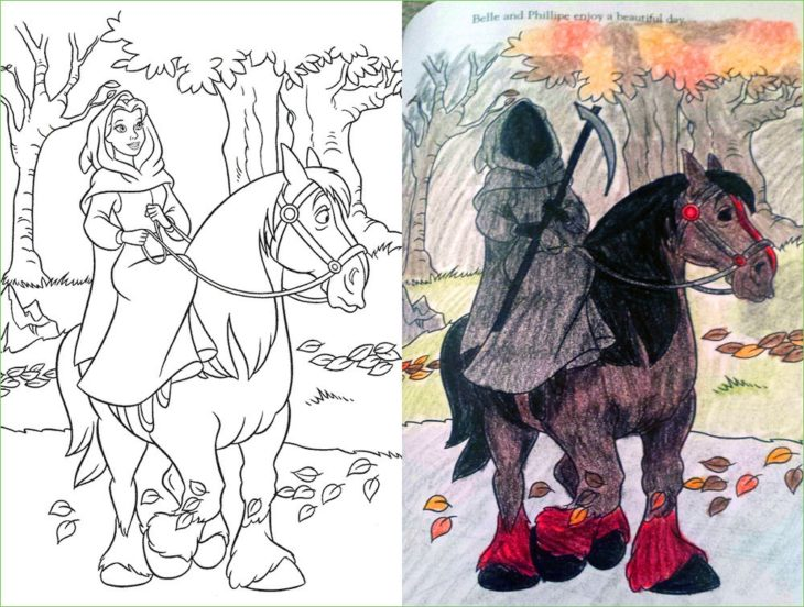 dibujo de bella convertida en la muerte sobre un caballo