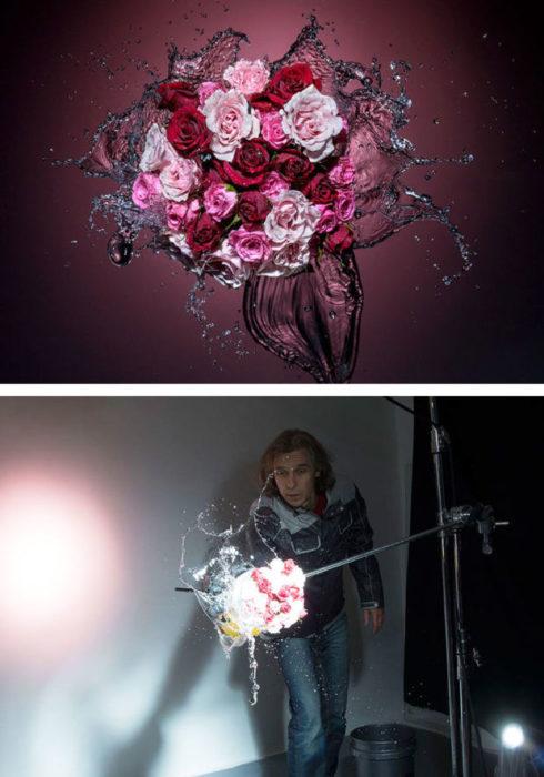 detrás de cámaras fotografía de rosas y gua