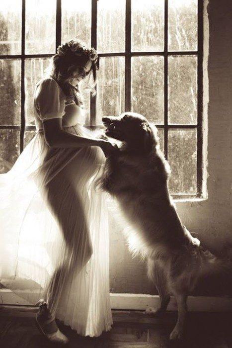 fotografía de embarazada jugando con perro