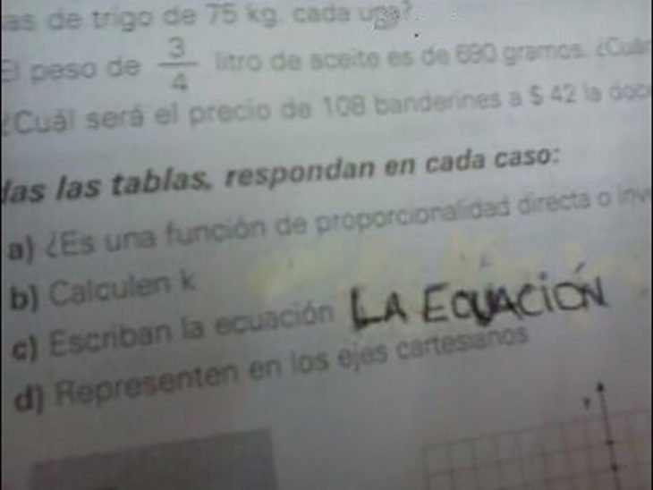 examen escribe la ecuación, y escribe la ecuación